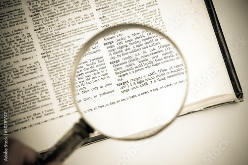 A magnifying glass on the word target