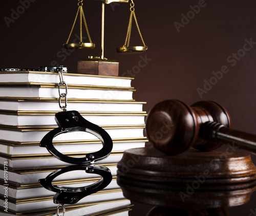 Handcuffs, Judges gavel