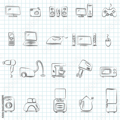 Home appliances. Drawing icons set