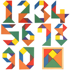 Numbers set, tangram