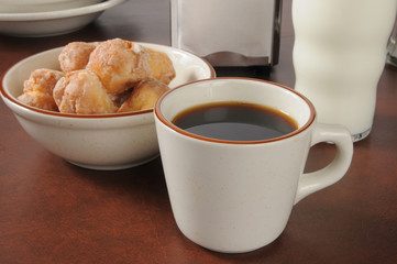 Coffee and donut holes