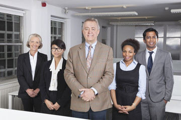 Portrait of confident multiethnic business group at office