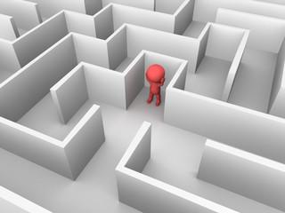 3D Man Lost inside a Maze
