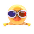 Easter chick looks over the top in 3d glasses