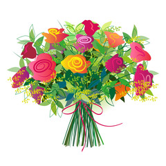 Bouquet of fresh roses tied with a ribbon. Isolated