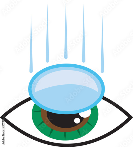 Isolated eye with contact lens falling into place