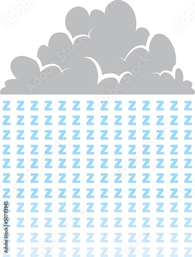 Cloud raining letter z's representing sleep