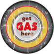 vintage gas advertising sign, car wheel, vector illustration