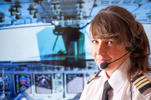 Leinwandbild Motiv Airline pilot
