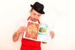 Koch mit Kochbuch