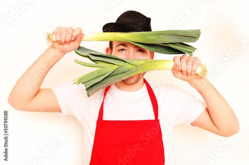 Koch mit Lauch