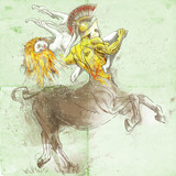 Greek myth and legends (Full sized drawing) - Centaur and Nymph poster