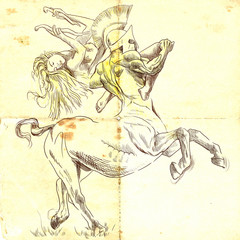 Greek myth and legends (Full sized drawing) - Centaur and Nymph