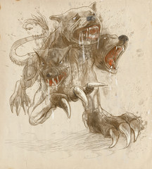 Greek myth and legends (Full sized hand drawing) - Cerberus
