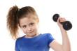girl lifting dumbbells
