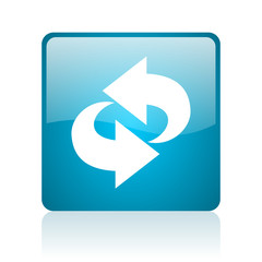 rotate blue square web glossy icon