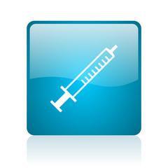 syringe blue square web glossy icon