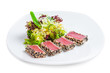 tuna salad on a white background