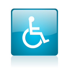 accessibility blue square web glossy icon