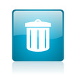 recycle blue square web glossy icon