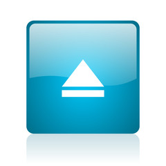 eject blue square web glossy icon