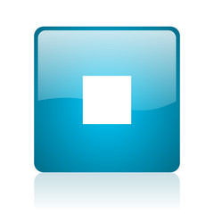 stop blue square web glossy icon