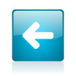 arrow left blue square web glossy icon