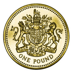 Mint British Gold Pound Coin with Clipping Path