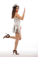 Party Girl action isolated white background