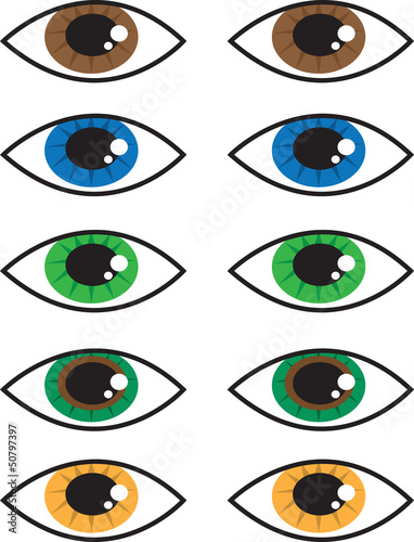 Various isolated cartoon eye colors