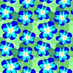 Vector seamless flower pattern of water-lilies