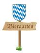 Schild Biergarten mit Bayernwappen