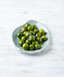 Castelvetrano Olives on a Ceramic Plate