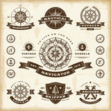 Fototapety Vintage nautical labels set