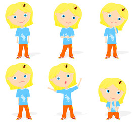 Set of a little girl character poses