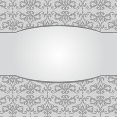 Vintage gray damask background with frame