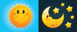 Day and Night: Cute cartoon sun and moon with stars