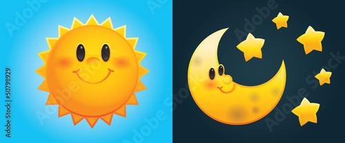 Fototapeta Day and Night: Cute cartoon sun and moon with stars