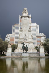 Madrid -   Cervantes monument on Plaza Espana.
