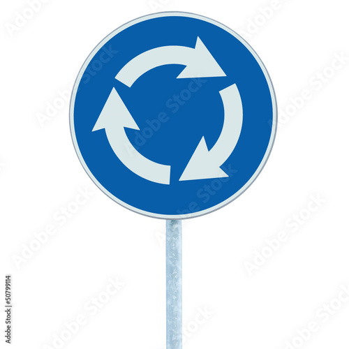 Roundabout crossroad road traffic sign isolated blue white arrow