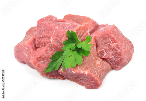 Crude meat with spices