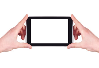 hands holding blank digital tablet with copy space and clipping