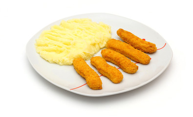 chicken fingers, mashed potatoes