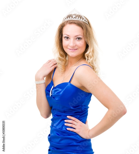 woman in a blue dress with diadem