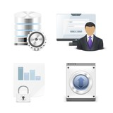 server and pc vector icon set