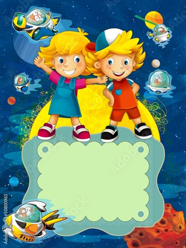 Poster Kosmos The group of happy preschool kids