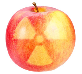 Red apple with sign of nuclear danger