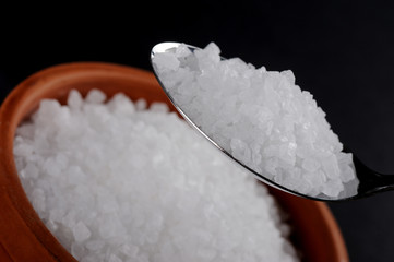 Granul Salt with pipkin and stell spoon
