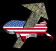 American dollars arrow and USA map flag illustration