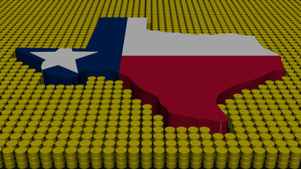 Texas map flag with oil barrels illustration